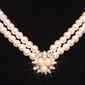 VINTAGE Double Strand Pearl Rhinestone Necklace